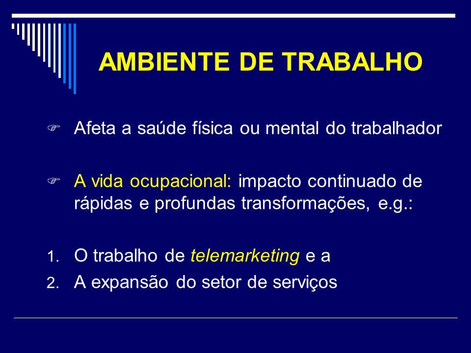 AMBIENTE DE TRABALHO Afeta a saúde física ou mental do trabalhador A vida ocupacional: impacto continuado de rápidas e profundas transformações, e.g.: