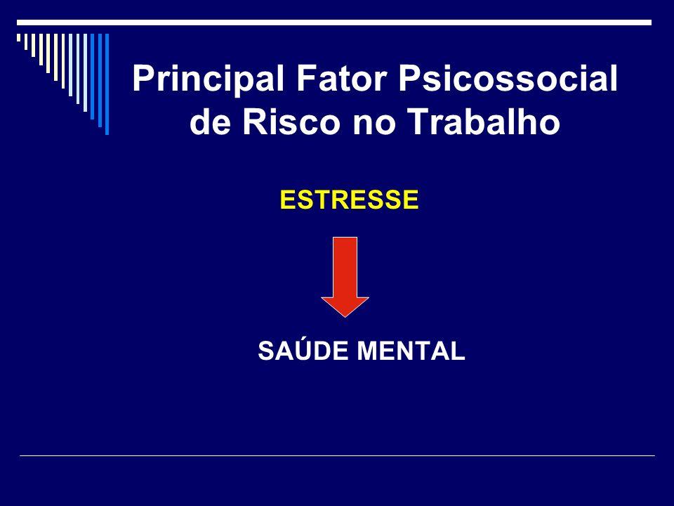 Principal Fator Psicossocial de Risco no Trabalho ESTRESSE SAÚDE MENTAL