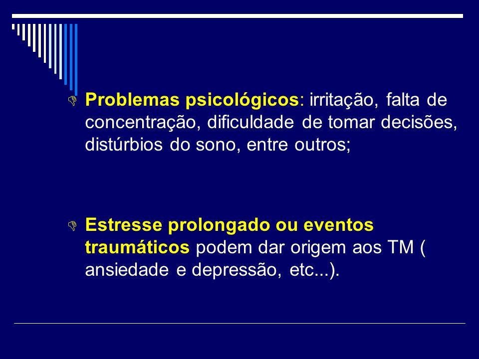 Problemas psicológicos: irritação, falta de concentração, dificuldade de tomar decisões, distúrbios do sono, entre outros; Estresse prolongado ou even