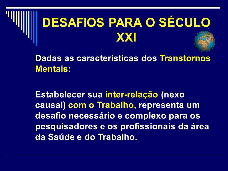 DESAFIOS PARA O SÉCULO XXI Dadas as características dos Transtornos Mentais: Estabelecer sua inter-relação (nexo causal) com o Trabalho, representa um