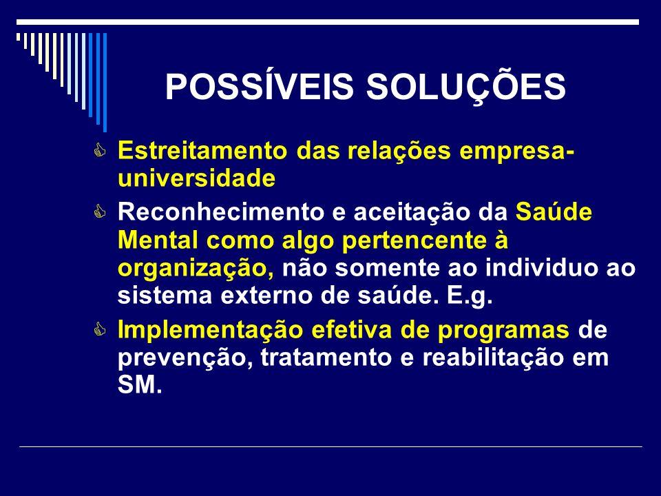 POSSÍVEIS SOLUÇÕES Estreitamento das relações empresa- universidade Reconhecimento e aceitação da Saúde Mental como algo pertencente à organização, nã