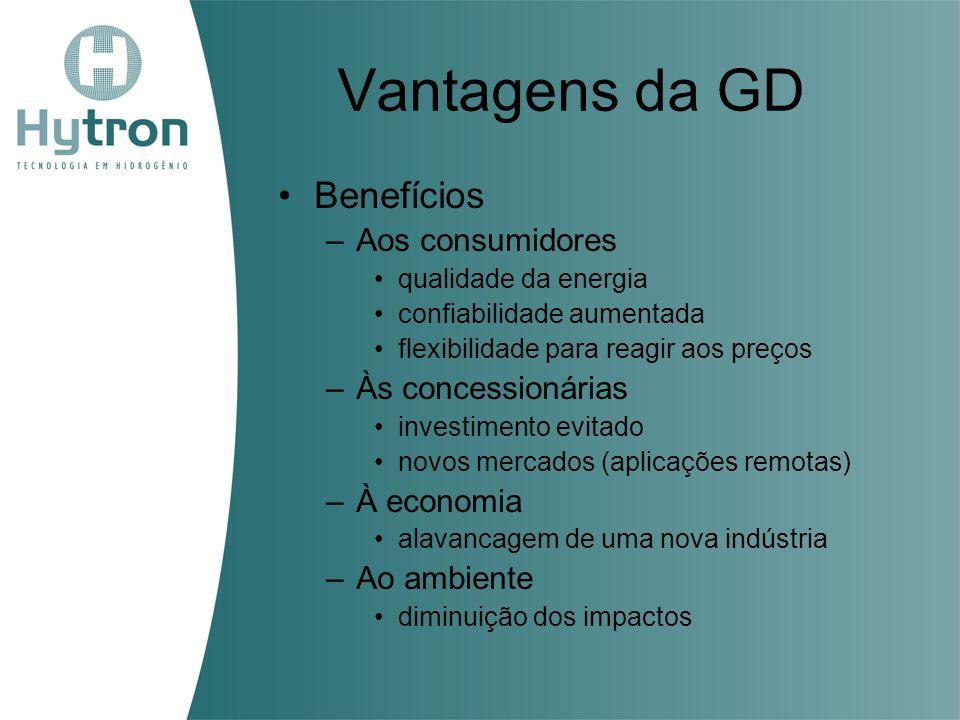 Vantagens da GD Benefícios –Aos consumidores qualidade da energia confiabilidade aumentada flexibilidade para reagir aos preços –Às concessionárias in
