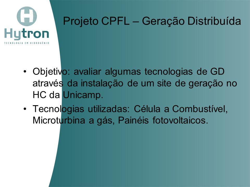 Projeto CPFL – Geração Distribuída Objetivo: avaliar algumas tecnologias de GD através da instalação de um site de geração no HC da Unicamp. Tecnologi