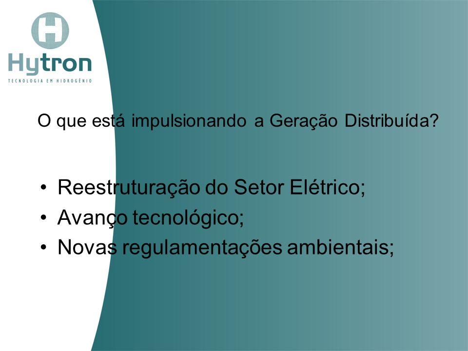 O que está impulsionando a Geração Distribuída? Reestruturação do Setor Elétrico; Avanço tecnológico; Novas regulamentações ambientais;