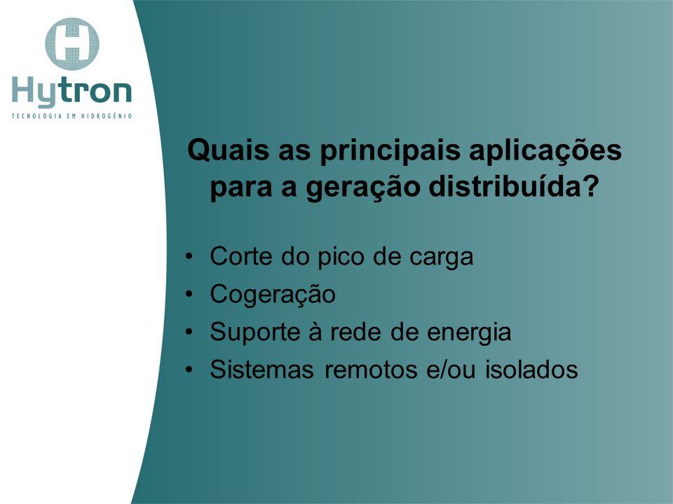 Quais as principais aplicações para a geração distribuída? Corte do pico de carga Cogeração Suporte à rede de energia Sistemas remotos e/ou isolados