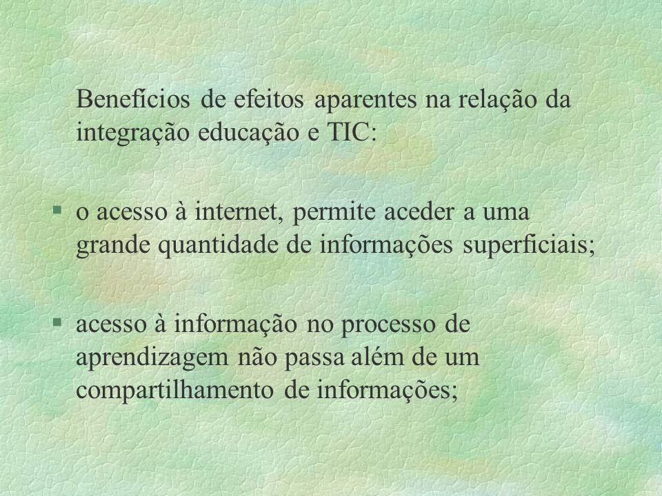 Benefícios de efeitos aparentes na relação da integração educação e TIC: §o acesso à internet, permite aceder a uma grande quantidade de informações s