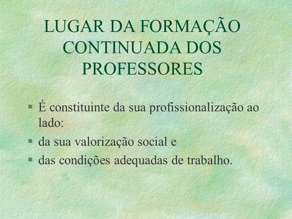 LUGAR DA FORMAÇÃO CONTINUADA DOS PROFESSORES §É constituinte da sua profissionalização ao lado: §da sua valorização social e §das condições adequadas
