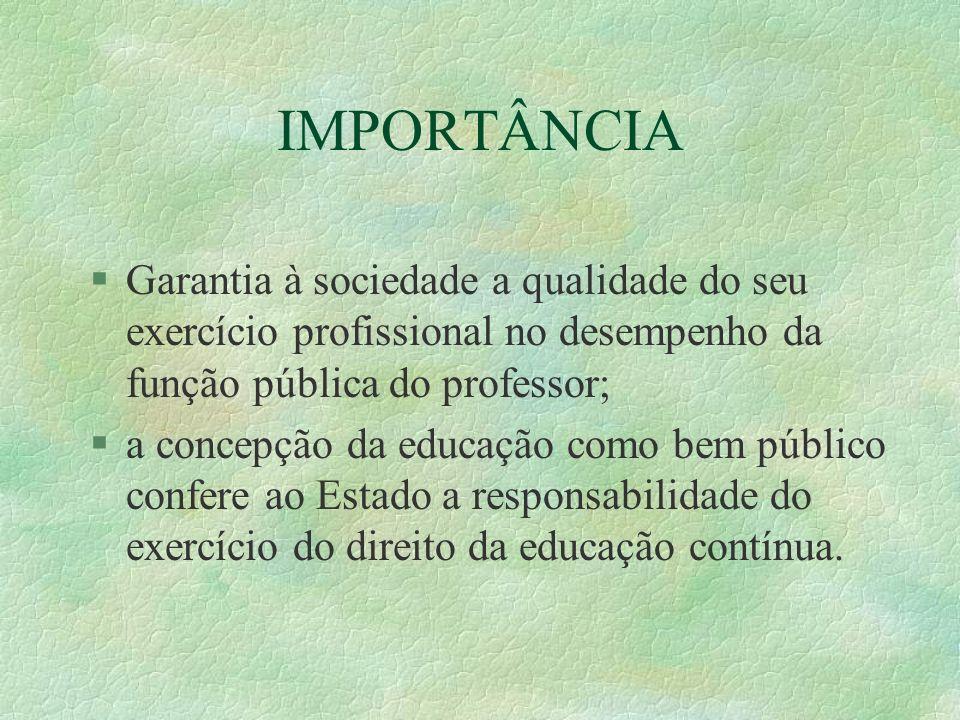 IMPORTÂNCIA §Garantia à sociedade a qualidade do seu exercício profissional no desempenho da função pública do professor; §a concepção da educação com