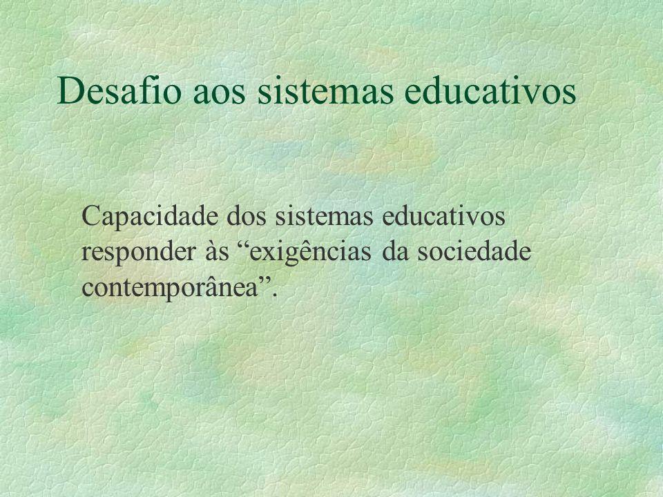 Desafio aos sistemas educativos Capacidade dos sistemas educativos responder às exigências da sociedade contemporânea.