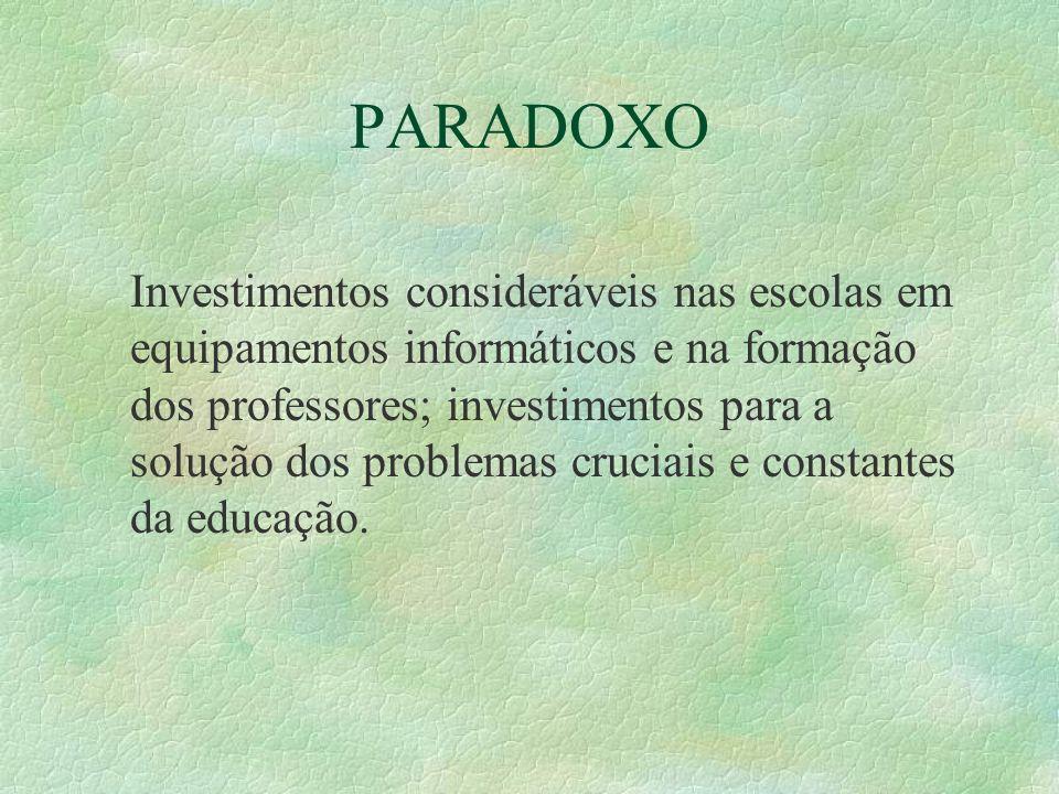 PARADOXO Investimentos consideráveis nas escolas em equipamentos informáticos e na formação dos professores; investimentos para a solução dos problema