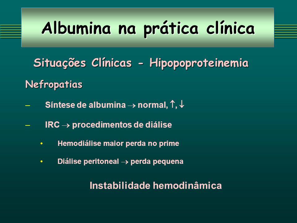 Albumina na prática clínica Situações Clínicas - Hipopoproteinemia Situações Clínicas - HipopoproteinemiaNefropatias – –Síntese de albumina normal,, –