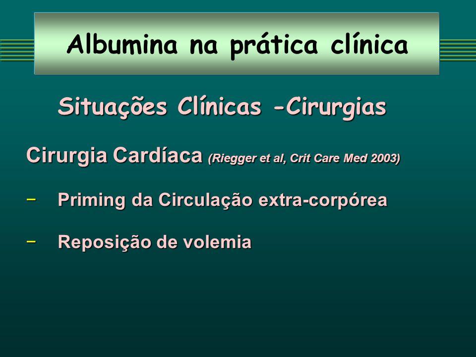 Albumina na prática clínica Situações Clínicas -Cirurgias Cirurgia Cardíaca (Riegger et al, Crit Care Med 2003) Priming da Circulação extra-corpóreaPriming da Circulação extra-corpórea Reposição de volemiaReposição de volemia