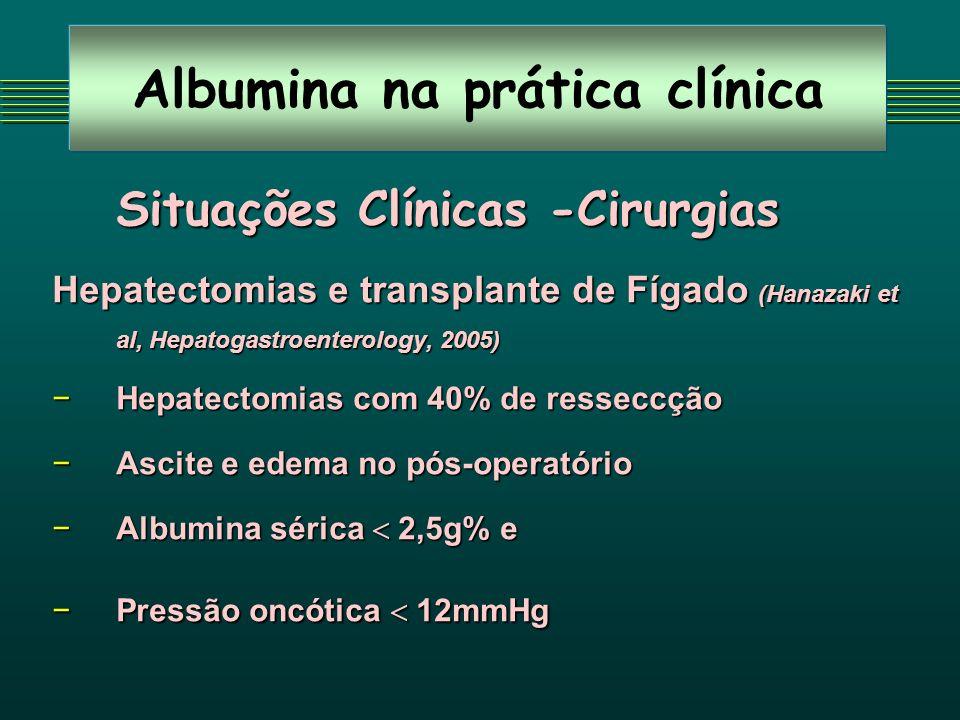 Albumina na prática clínica Situações Clínicas -Cirurgias Hepatectomias e transplante de Fígado (Hanazaki et al, Hepatogastroenterology, 2005) Hepatec