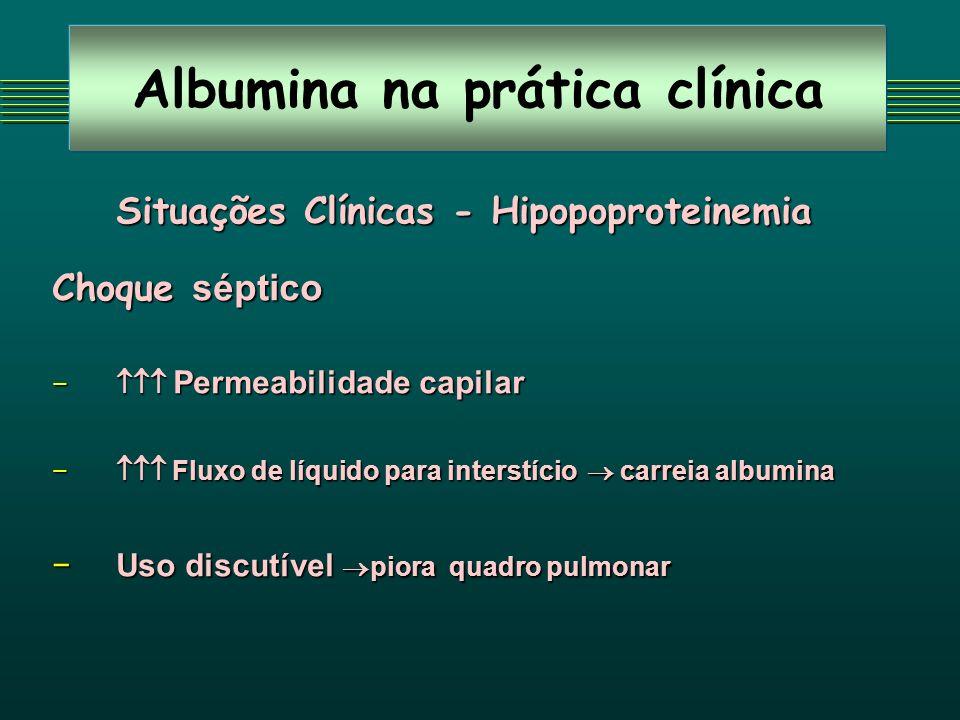 Albumina na prática clínica Situações Clínicas - Hipopoproteinemia Choque séptico Permeabilidade capilar Permeabilidade capilar Fluxo de líquido para
