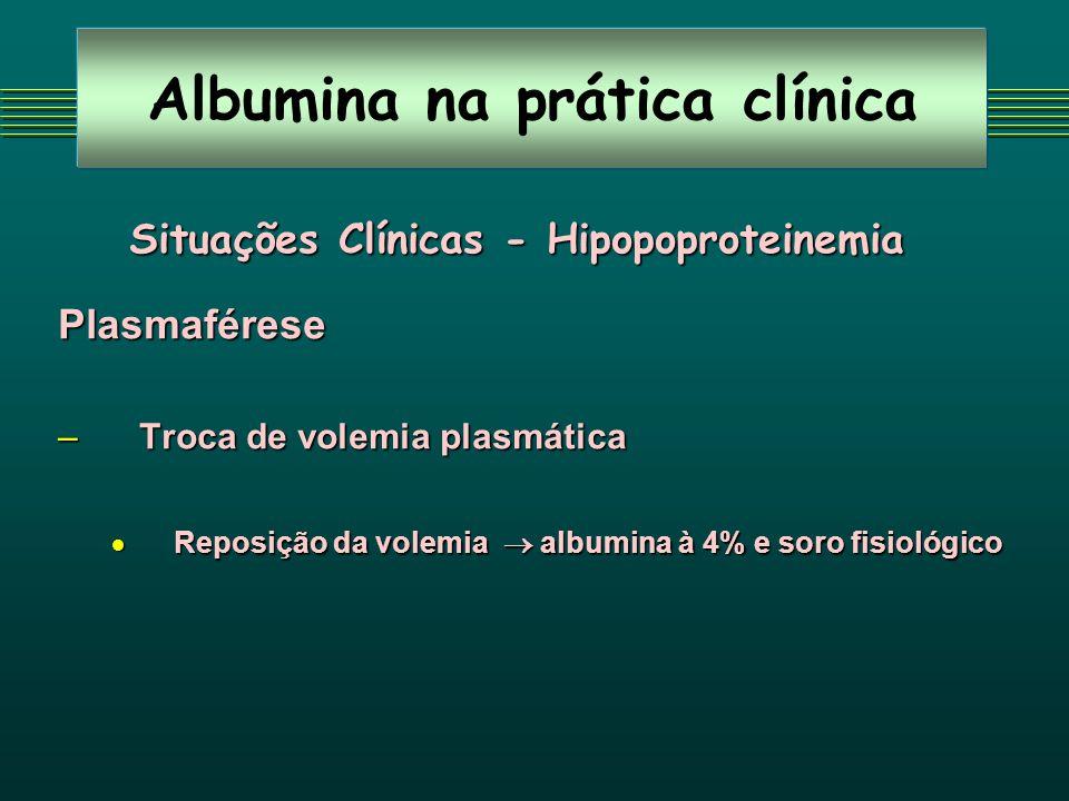 Albumina na prática clínica Situações Clínicas - Hipopoproteinemia Plasmaférese – Troca de volemia plasmática Reposição da volemia albumina à 4% e soro fisiológico Reposição da volemia albumina à 4% e soro fisiológico