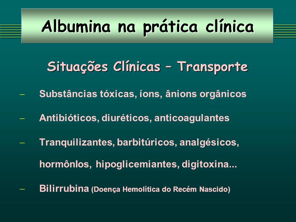 Albumina na prática clínica Situações Clínicas – Transporte Substâncias tóxicas, íons, ânions orgânicos Antibióticos, diuréticos, anticoagulantes Tranquilizantes, barbitúricos, analgésicos, hormônIos, hipoglicemiantes, digitoxina...