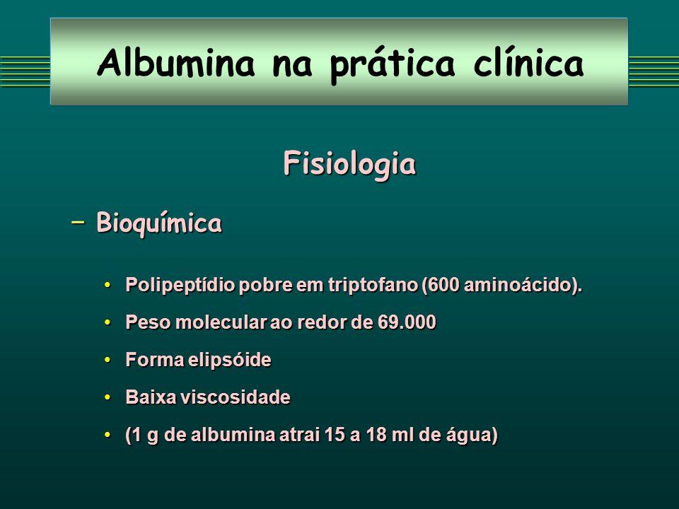 Albumina na prática clínica Fisiologia-Metabolismo Síntese Síntese Hepatócitos (20 a 30%)Hepatócitos (20 a 30%) Retículo endoplasmático (9 a 12 g em 24 horas)Retículo endoplasmático (9 a 12 g em 24 horas) Não é armazenadaNão é armazenada Estímulo máximo eleva 2-3 vezesEstímulo máximo eleva 2-3 vezes