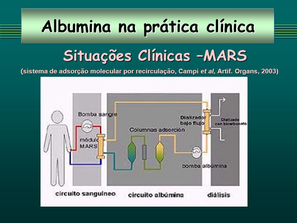 Albumina na prática clínica Situações Clínicas –MARS ( sistema de adsorção molecular por recirculação, Campi et al, Artif. Organs, 2003)