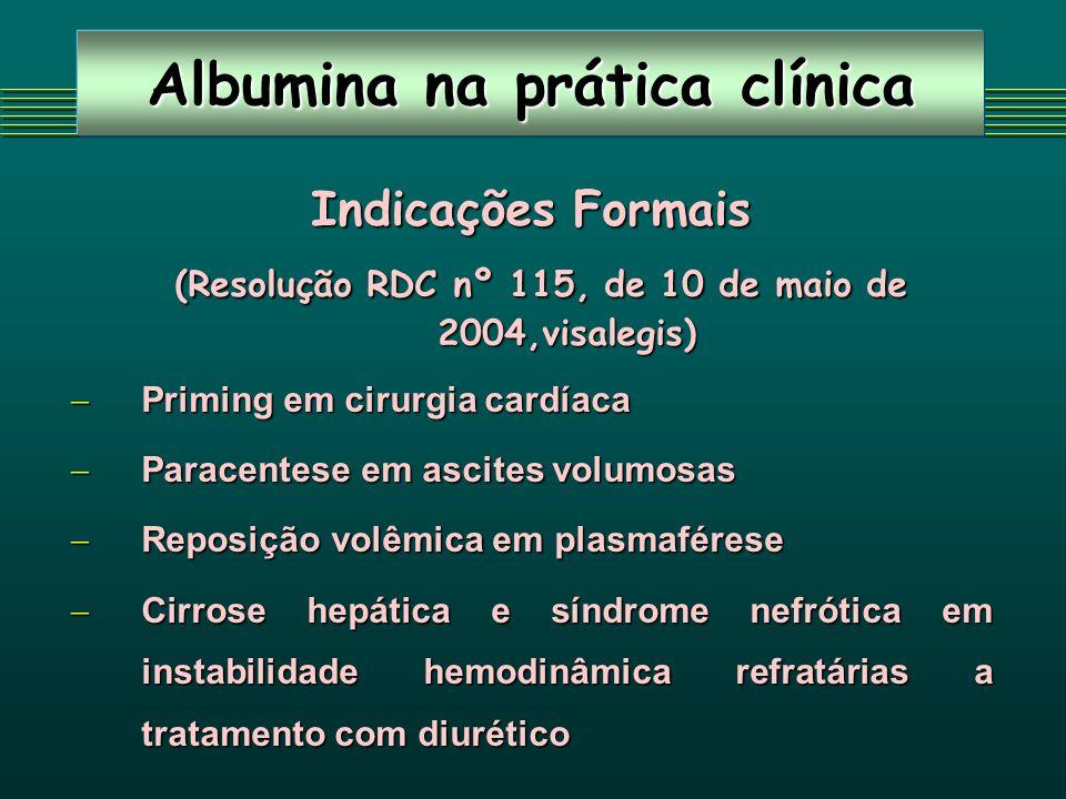 Albumina na prática clínica Indicações Formais (Resolução RDC nº 115, de 10 de maio de 2004,visalegis) (Resolução RDC nº 115, de 10 de maio de 2004,vi