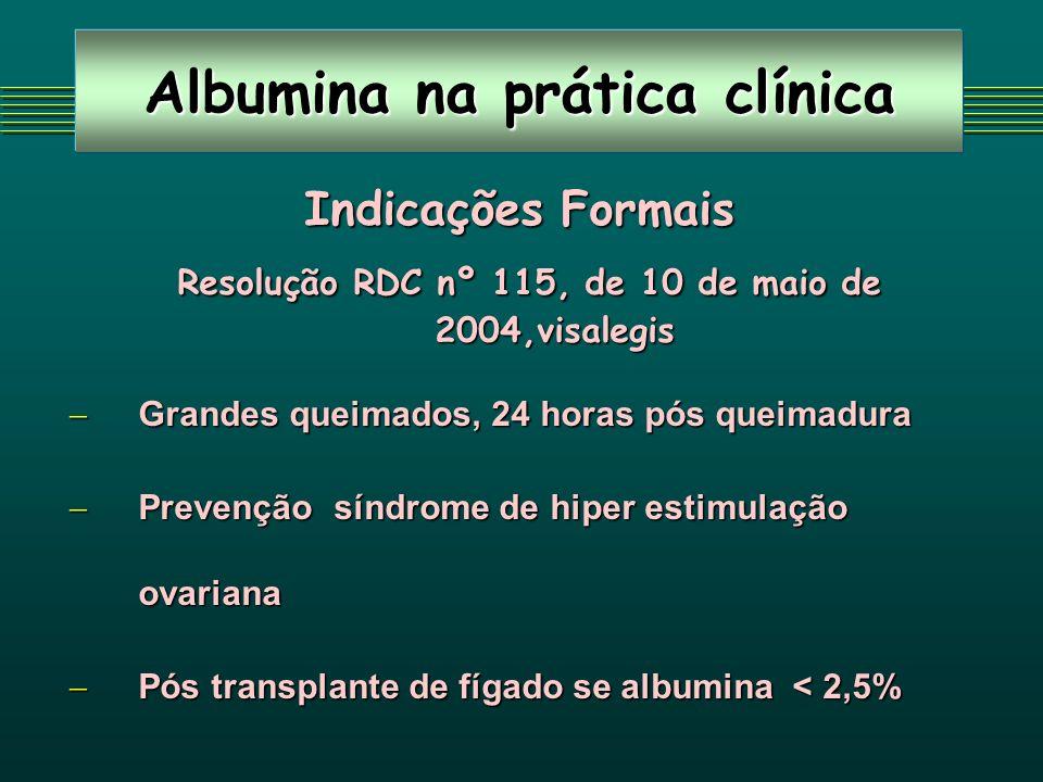 Albumina na prática clínica Indicações Formais Resolução RDC nº 115, de 10 de maio de 2004,visalegis Resolução RDC nº 115, de 10 de maio de 2004,visalegis Grandes queimados, 24 horas pós queimadura Grandes queimados, 24 horas pós queimadura Prevenção síndrome de hiper estimulação ovariana Prevenção síndrome de hiper estimulação ovariana Pós transplante de fígado se albumina < 2,5% Pós transplante de fígado se albumina < 2,5%