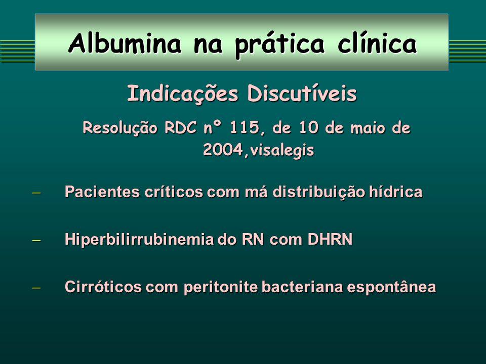 Albumina na prática clínica Indicações Discutíveis Resolução RDC nº 115, de 10 de maio de 2004,visalegis Resolução RDC nº 115, de 10 de maio de 2004,v