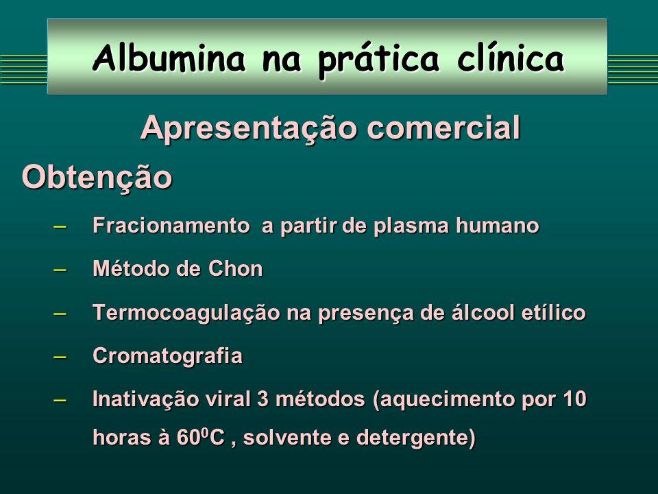 Albumina na prática clínica Apresentação comercial Apresentação comercialObtenção –Fracionamento a partir de plasma humano –Método de Chon –Termocoagu