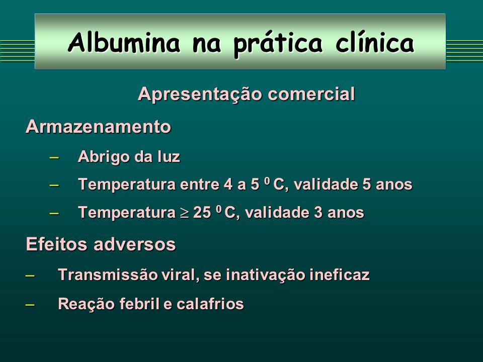 Albumina na prática clínica Apresentação comercial Apresentação comercialArmazenamento –Abrigo da luz –Temperatura entre 4 a 5 0 C, validade 5 anos –T