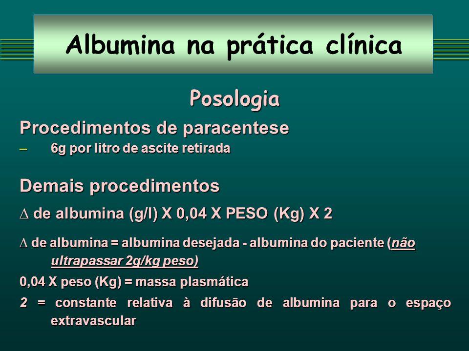 Albumina na prática clínica Posologia Procedimentos de paracentese –6g por litro de ascite retirada Demais procedimentos de albumina (g/l) X 0,04 X PE