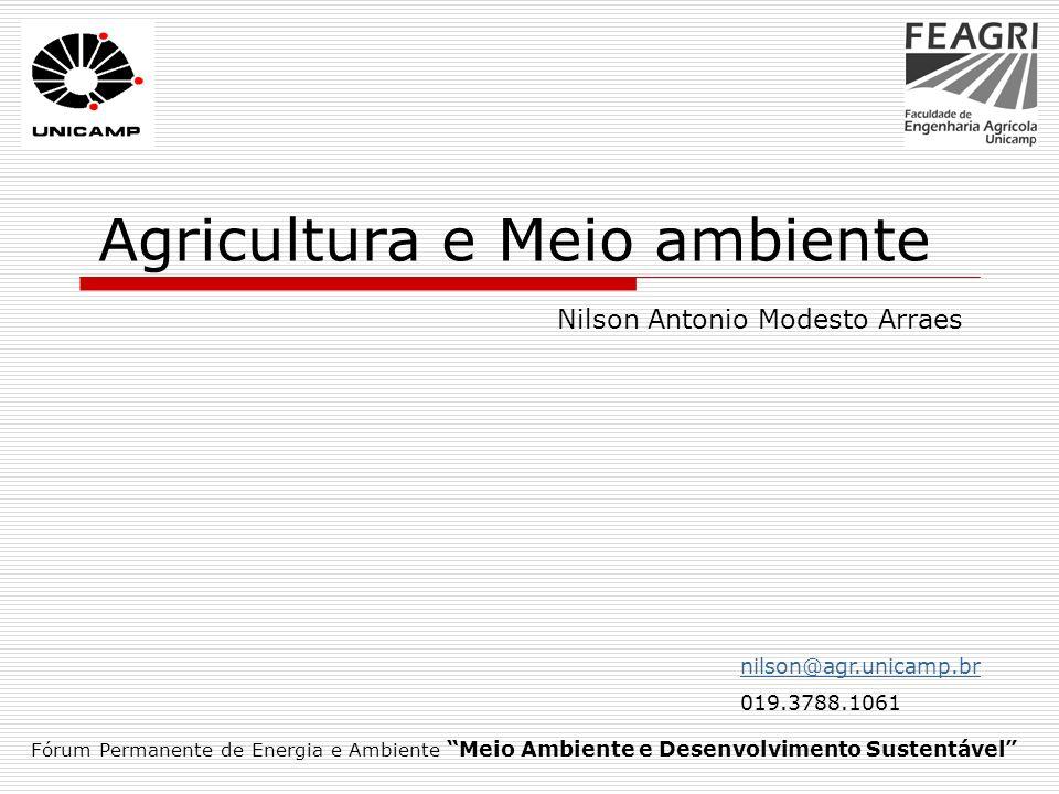 Roteiro Modernização da agricultura Segmentação da agricultura Impactos ambientais Agriculturas sustentáveis Legislação ambiental Código Florestal Fórum Permanente de Energia e Ambiente Meio Ambiente e Desenvolvimento Sustentável