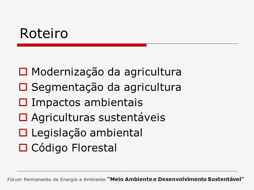 Roteiro Modernização da agricultura Segmentação da agricultura Impactos ambientais Agriculturas sustentáveis Legislação ambiental Código Florestal Fór