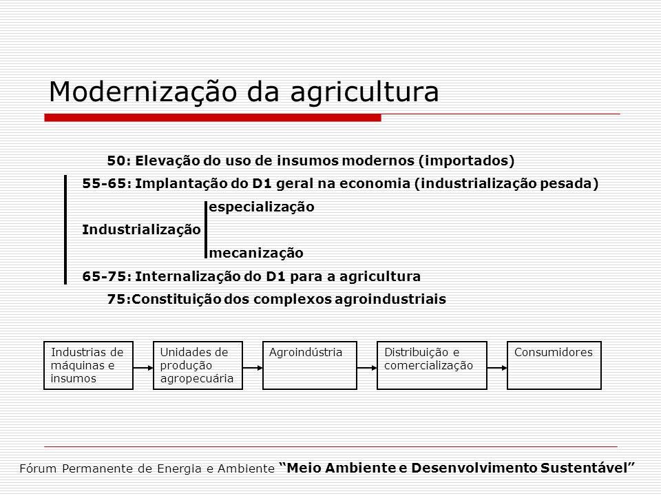 Modernização da agricultura Fórum Permanente de Energia e Ambiente Meio Ambiente e Desenvolvimento Sustentável 50: Elevação do uso de insumos modernos