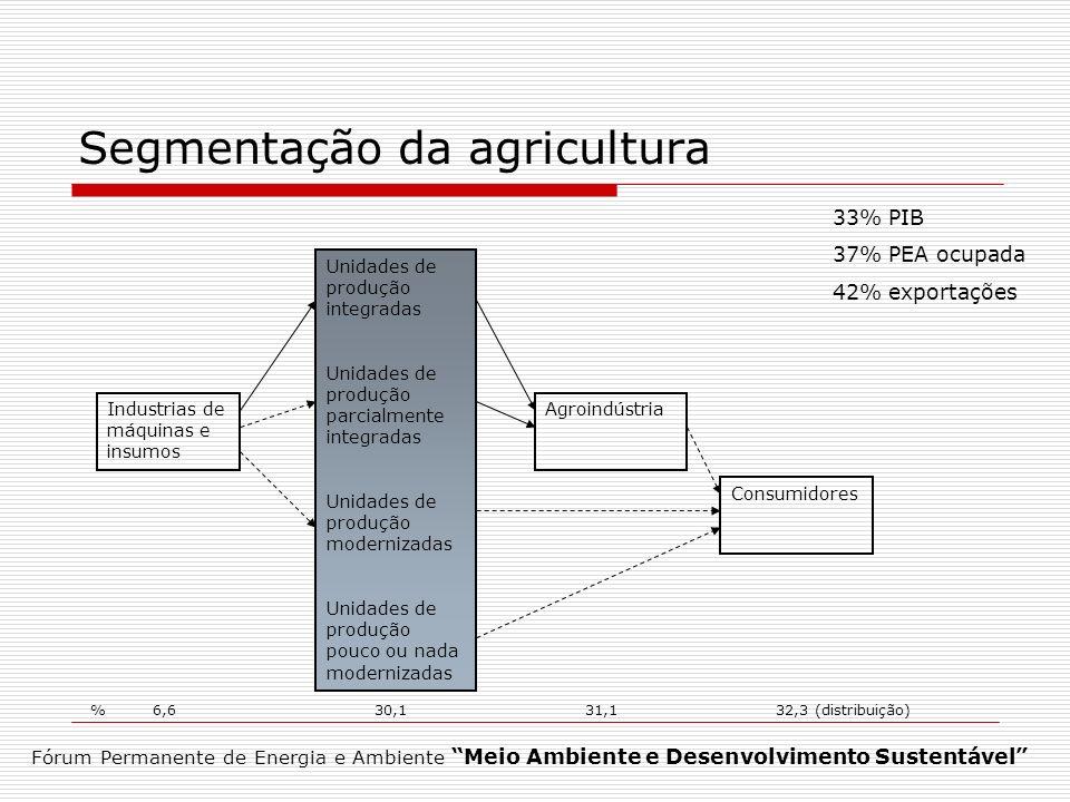 Segmentação da agricultura Fórum Permanente de Energia e Ambiente Meio Ambiente e Desenvolvimento Sustentável Consumidores Industrias de máquinas e in