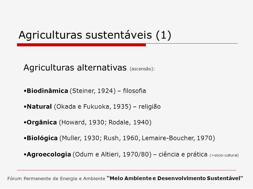 Agriculturas sustentáveis (1) Agriculturas alternativas (ascensão): Biodinâmica (Steiner, 1924) – filosofia Natural (Okada e Fukuoka, 1935) – religião