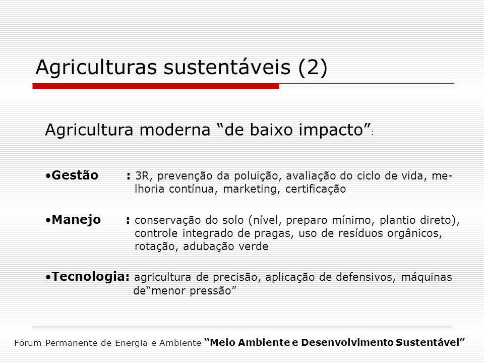Agriculturas sustentáveis (2) Agricultura moderna de baixo impacto : Gestão : 3R, prevenção da poluição, avaliação do ciclo de vida, me- lhoria contín