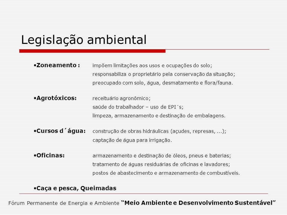 Legislação ambiental Zoneamento : impõem limitações aos usos e ocupações do solo; responsabiliza o proprietário pela conservação da situação; preocupa