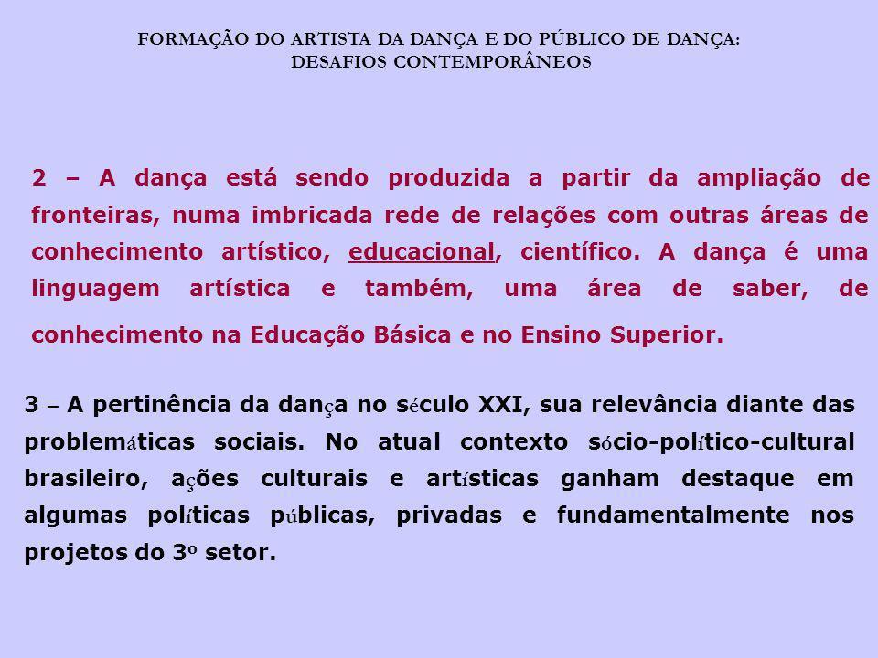 FORMAÇÃO DO ARTISTA DA DANÇA E DO PÚBLICO DE DANÇA: DESAFIOS CONTEMPORÂNEOS 2 – A dança está sendo produzida a partir da ampliação de fronteiras, numa