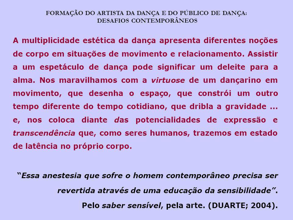 FORMAÇÃO DO ARTISTA DA DANÇA E DO PÚBLICO DE DANÇA: DESAFIOS CONTEMPORÂNEOS A multiplicidade estética da dança apresenta diferentes noções de corpo em