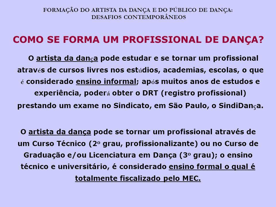 FORMAÇÃO DO ARTISTA DA DANÇA E DO PÚBLICO DE DANÇA: DESAFIOS CONTEMPORÂNEOS O Ensino Superior da Dança tem suas próprias Diretrizes Curriculares organizadas pelo MEC e pertence à área de ARTES.