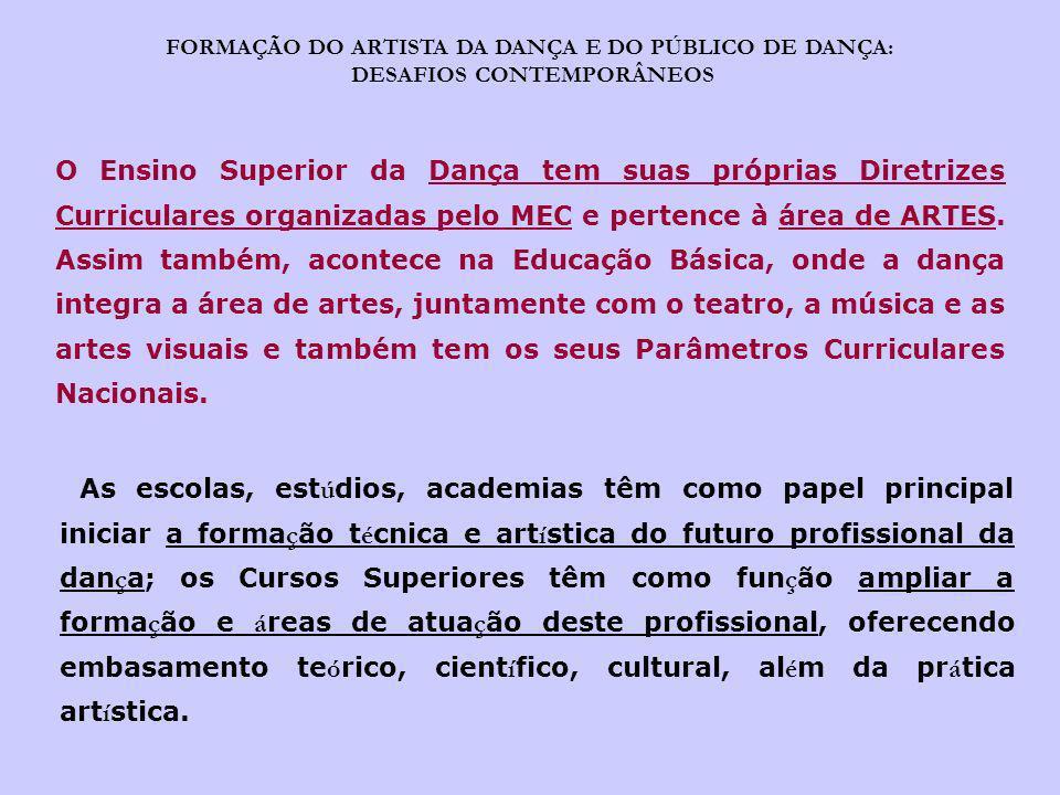 FORMAÇÃO DO ARTISTA DA DANÇA E DO PÚBLICO DE DANÇA: DESAFIOS CONTEMPORÂNEOS O Ensino Superior da Dança tem suas próprias Diretrizes Curriculares organ