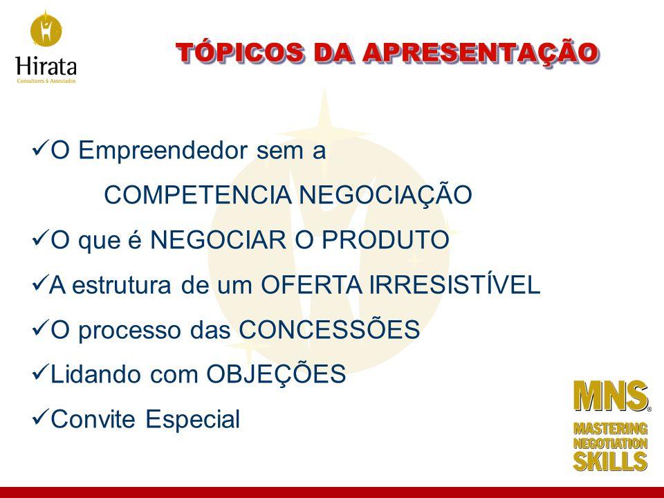 O Empreendedor sem a COMPETENCIA NEGOCIAÇÃO O que é NEGOCIAR O PRODUTO A estrutura de um OFERTA IRRESISTÍVEL O processo das CONCESSÕES Lidando com OBJ