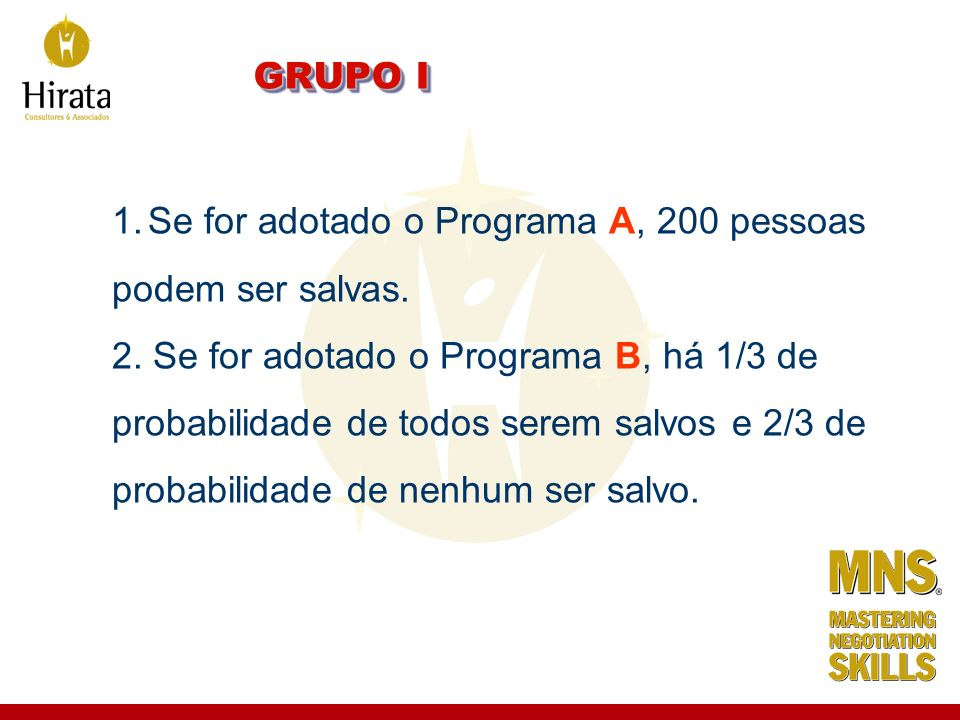 GRUPO I 1.Se for adotado o Programa A, 200 pessoas podem ser salvas. 2. Se for adotado o Programa B, há 1/3 de probabilidade de todos serem salvos e 2