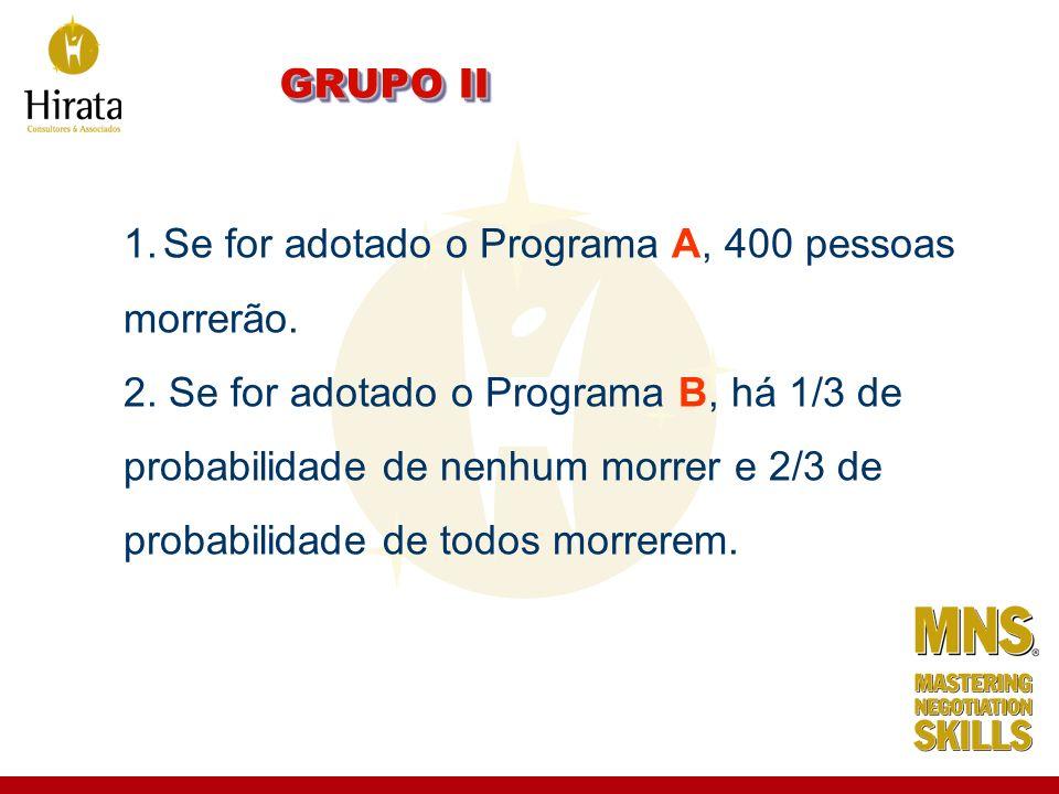 GRUPO II 1.Se for adotado o Programa A, 400 pessoas morrerão. 2. Se for adotado o Programa B, há 1/3 de probabilidade de nenhum morrer e 2/3 de probab