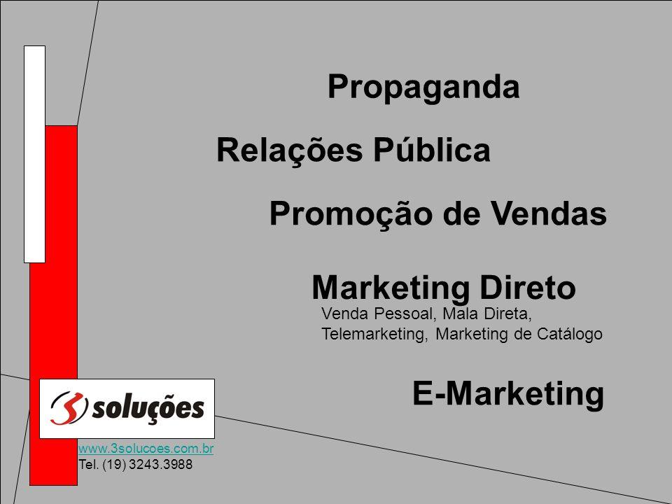 www.3solucoes.com.br Tel. (19) 3243.3988 Propaganda Relações Pública Promoção de Vendas Marketing Direto Venda Pessoal, Mala Direta, Telemarketing, Ma