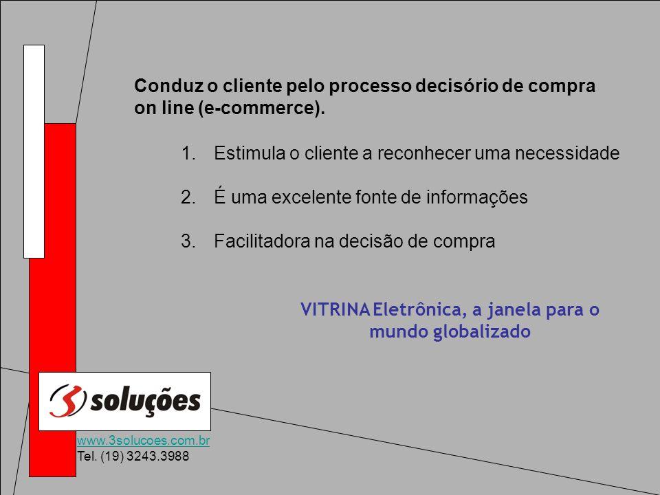 www.3solucoes.com.br Tel. (19) 3243.3988 Conduz o cliente pelo processo decisório de compra on line (e-commerce). 1.Estimula o cliente a reconhecer um