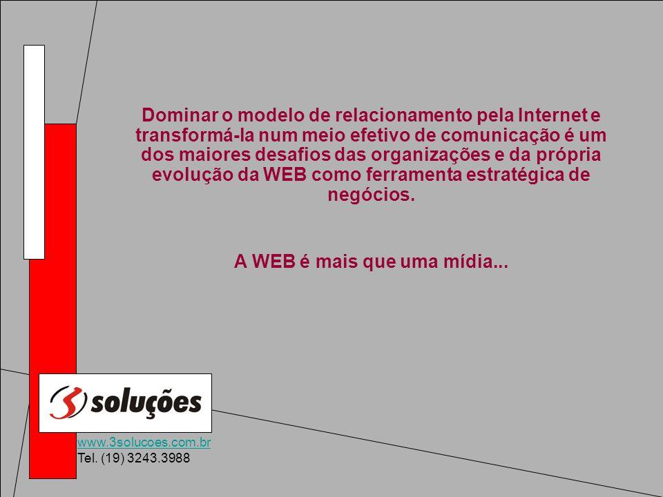 www.3solucoes.com.br Tel. (19) 3243.3988 Dominar o modelo de relacionamento pela Internet e transformá-la num meio efetivo de comunicação é um dos mai