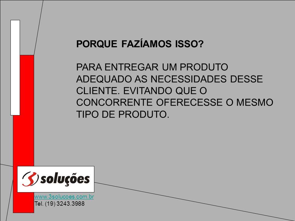 www.3solucoes.com.br Tel. (19) 3243.3988 PARA ENTREGAR UM PRODUTO ADEQUADO AS NECESSIDADES DESSE CLIENTE. EVITANDO QUE O CONCORRENTE OFERECESSE O MESM