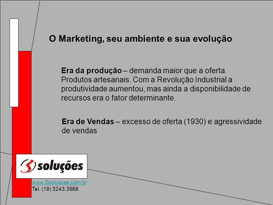 www.3solucoes.com.br Tel. (19) 3243.3988 O Marketing, seu ambiente e sua evolução Era da produção – demanda maior que a oferta. Produtos artesanais. C