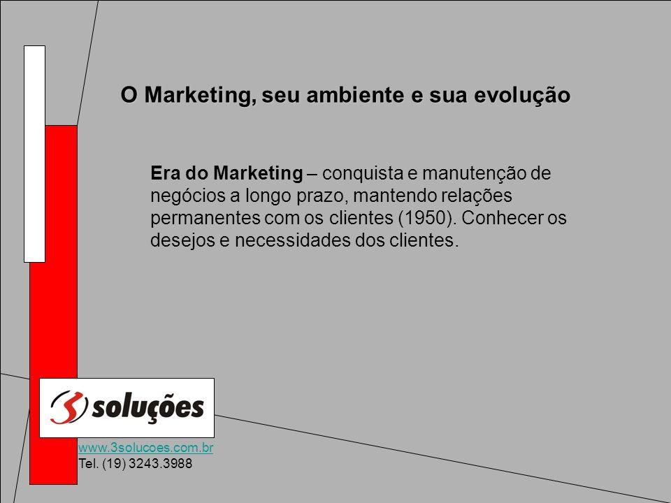www.3solucoes.com.br Tel. (19) 3243.3988 O Marketing, seu ambiente e sua evolução Era do Marketing – conquista e manutenção de negócios a longo prazo,