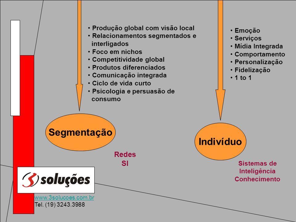 www.3solucoes.com.br Tel. (19) 3243.3988 Segmentação Redes SI Produção global com visão local Relacionamentos segmentados e interligados Foco em nicho
