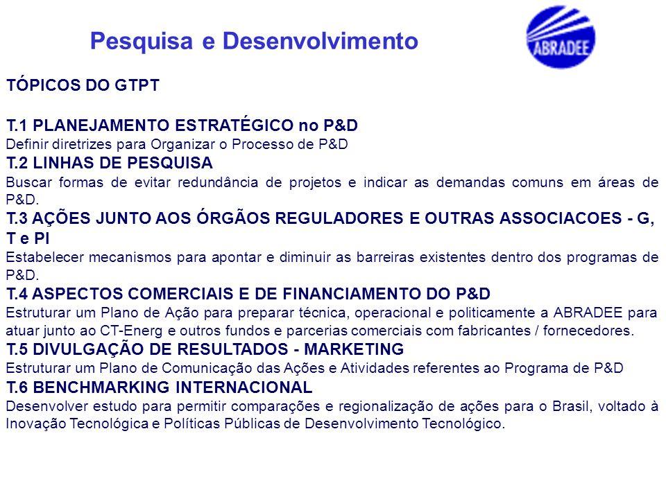 Pesquisa e Desenvolvimento TÓPICOS DO GTPT T.1 PLANEJAMENTO ESTRATÉGICO no P&D Definir diretrizes para Organizar o Processo de P&D T.2 LINHAS DE PESQU